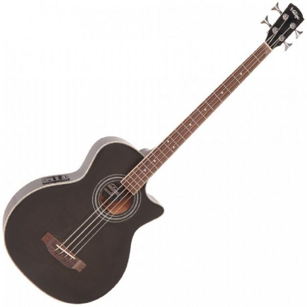 Vintage VCB430TBK Electro Acoustic Bass Guitar Black - New